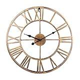 MAJOZ Reloj de Pared de Metal Estilo Vintage - Reloj de Pared 3D Silencioso para Decoración de Hogar - diámetro 50 cm (Dorado)