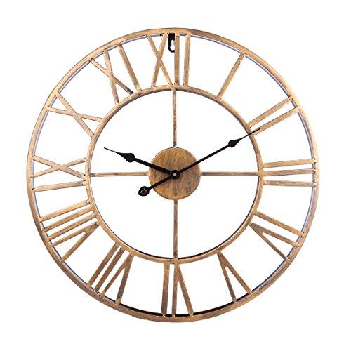 Winni43Julian 50CM Orologio da Parete Grande Orologio da Muro Vintage Orologio da Parete Silenzioso Metallo Orologio da Muro Design Orologio da Parete Shabby (Oro)