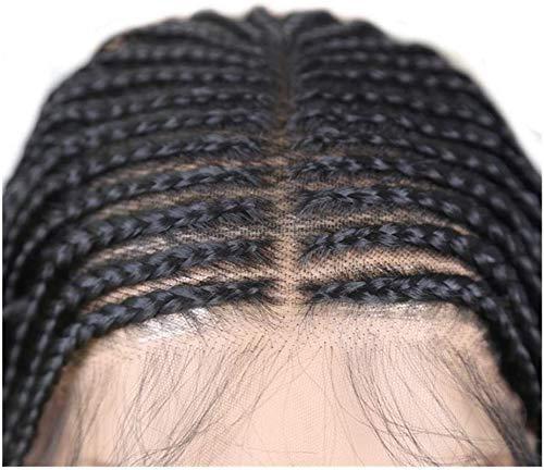 Peluca trenzada Tenacious Box con pelo de bebé, parte media, peluca de encaje sintético frontal, para mujeres negras de 13 x 6 pulgadas de profundidad (color: negro, longitud estirada: 26 pulgadas)