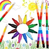 EMAGEREN 12 Pezzi Pastelli per Bambini Impilabile Pastelli Colorati a 12 Colori Penne Divertenti Colorate Giocattoli per Bambini Regalini Pensierini per Compleanno Natale Feste Premi di Classe