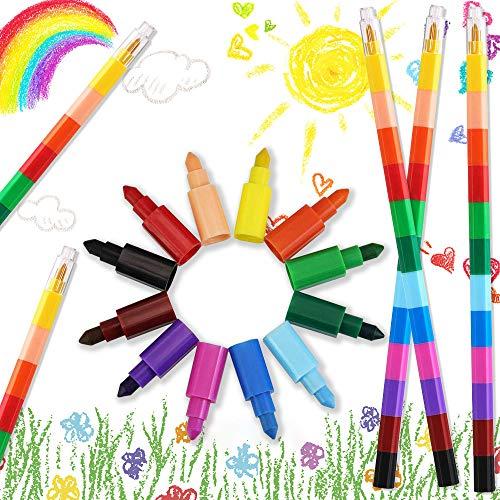 EMAGEREN 12pcs Lápices de Cera, Crayónes para Niños, Ceras de Colores, Lápices Apilables, Seguro y No Tóxico, Punta Intercambiable, Ideal para Regalo de Navidad/Cumpleaños/Recompensa de clase