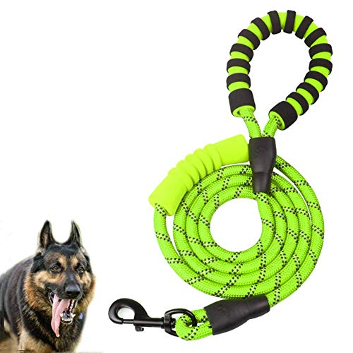 MEKEET Rope Dog Leash 6FT, Dog Lead with Comfortable Padded Handle and Highly Reflective Threads Mountain Climbing Rope for Small,Medium Dogs
