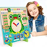 PLENTOP Teaching Clocks Wooden Calendar Board Clock Preschool Educational & Learning Weather Season Time Toy Gifts for Toddlers Boys and Girls 3 Year Olds + Multi-Functional Wooden Clock