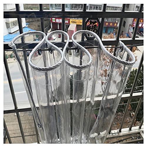 HYHMJ-Balcón Cubierta Lona Transparente A Prueba De Polvo Bloqueador De Sol Lona De Protección Contratistas Tejado Dosel, Con Ojales Plástica Lona Para Piscina 0,4Mm,Clear,1x4m