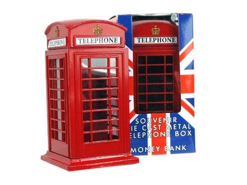 Money Boxes Meduim Telefonzelle Telefon, aus Druckguss, London, Sammlerstück, Souvenir-65228, Metallic-Rot