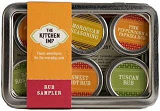 The Kitchen IMP Rub Organic Spice Sampler Set With 6 Tins 10grams Each | Ideal For Seasoning & Marinating Meat, Poultry, Fish, Veggies & More | Premium Cooking Gift Set