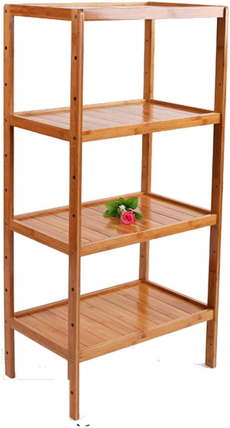 LCTZWJ Bamboo Shelf, 2&3&4 Tier Bamboo Kitchen Storage Indoor Flower Stand,Multifunctional Solid Wood Storage Rack Made of 100% Natural Bamboo (color   52CM(L), Size   Four Layers)