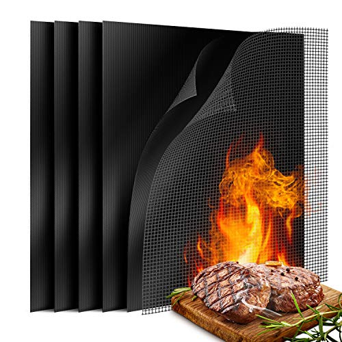 6 Pack Large Non Stick BBQ Grill Mat, Reusable Grill Mats with 1 Barbecue Grill Sheet Liners Teflon Grilling Mats, Easy to Clean Barbecue Grilling Accessories for Gas, Charcoal, Electric Grill Floor Grill Mats Pads