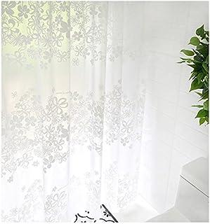 シャワーカーテン バスカーテン 防水防カビ加工 風呂カーテン おしゃれ 目隠し 間仕切り 保温 取り付け簡単 (白い花, 120×180cm)