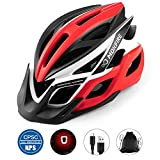 MOKFIRE Adult Bike Helmet with Rechargeable USB Light, Bicycle Helmet CPSC Certified for Men Women, Road Cycling & Mountain Biking Helmets with Removable Visor and Lining, 22.05-24.41 Inches (Black)