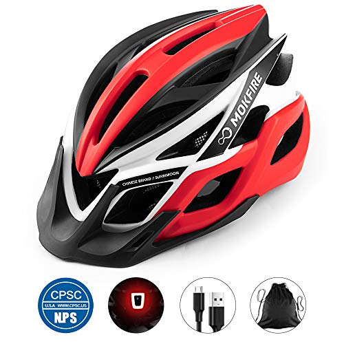 MOKFIRE Adult Bike Helmet with Rechargeable USB Light, Bicycle Helmet CPSC Certified for Men Women, Road Cycling & Mountain Biking Helmets with Removable Visor and Lining, 22.05-24.41 Inches (Red)