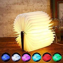 Buch Lampe, Sailnovo Mini Hölzerne faltende Buch-Lampe, SchreibtischLampe mit Akku 700 mAh, Dekorative Lichter Nachttischlampe 4 Stunden, Papier mit USB-Kabel, 360°Faltbar