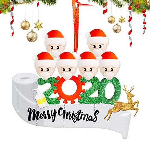 SlappyShirts Christmas Ornament Kit, Quarantine Survivor Personalized 2020 Christmas Ornament, Family of 6 Customized Name Christmas Decorating Set Holiday Creative Decorating Gift for Family
