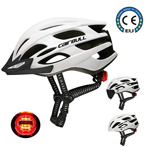 Cairbull-Helm, Unisex-Fahrradhelm für Erwachsene Ausgestattet mit LED-Licht / Visier / Sonnenbrille