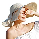 Women's Folable Floppy Hat,Wide Brim Sun Protection Straw Hat, Summer UV Protection Beach Cap (C1-F-Beige)
