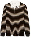 Amazon Brand - Goodthreads Men's Long-Sleeve Striped Rugby, Black Tan Double, X-Large