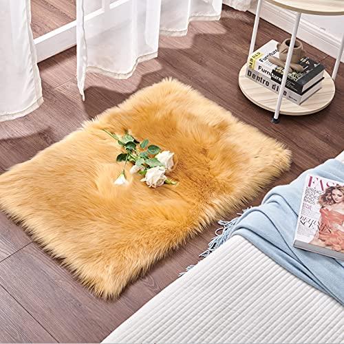 Cumay Piel de Imitación, Artificial Alfombra, excelente Piel sintética de Calidad Alfombra de Lana ,Adecuado para salón Dormitorio baño sofá Silla cojín (Marrón, 60 X 90 cm)