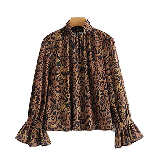 Blusas de Leopardo para Mujer, Camisas de Manga Larga, Sueltas, Vintage, a la Moda, con Estampado Femenino,...