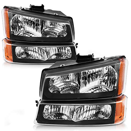 AUTOSAVER88 Headlight Assembly For 2003-2007 Chevy Silverado 1500/2500/3500,2003-2006 Chevy Avalanche Black Housing with Front Signal Lights (4 PCS, Not for Body Cladding Models)