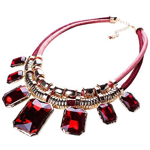 Yazilind Rot Charm Anhänger Kette Crystal Choker Klobige Bib Anweisung Kurze Halskette Halsband