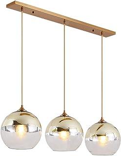 Lampe à suspension sphérique en verre, 3 flammes, Suspension Luminaire en verre transparent et doré Moderne, Lustre Table ...