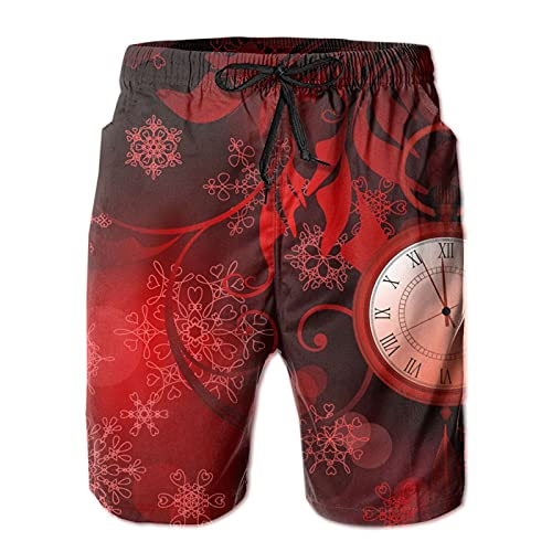 MayBlosom Pantalones cortos de playa para hombre rojo año nuevo con relojes verano baño troncos de secado rápido pantalones cortos divertidos 3D Impreso ropa de playa con cordón