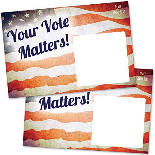 """100 Bulk Get Out the Vote Postcards 4x6"""" - Patriotic Red, White and Blue American Flag Vintage Theme With Blank Back for Message to Voters - Encourage Voting In Your State"""