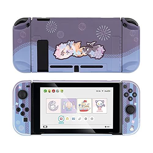 GeekShare Schutzhülle Slim Cover Case Kompatibel mit Nintendo Switch und Joy Con - Stoßdämpfung und Anti-Kratzer - Goldfish Feuerwerk