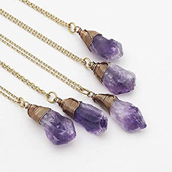 Raw Amethyst Crystal Antique Bronze Chain Pendant Necklace 18 Inches