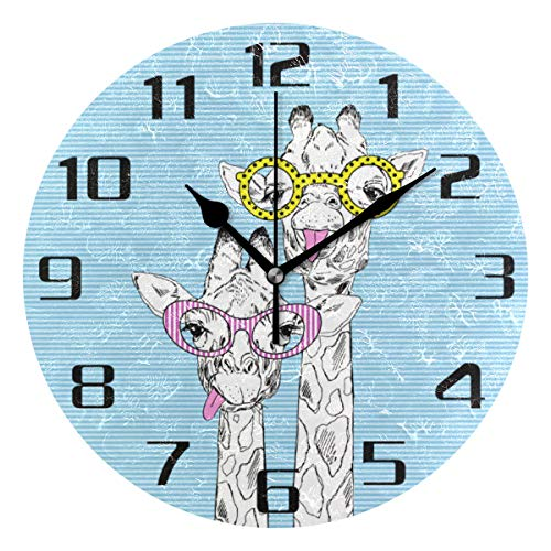 F17 - Reloj de pared redondo con diseño de jirafa de 9.8 pulgadas de PVC creativo decorativo para cocina, dormitorio, baño, sala de estar