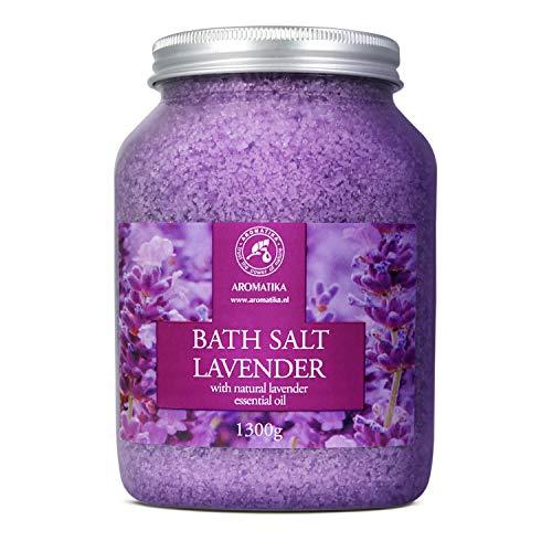 Badesalz Lavendel 1300g - Meersalz mit 100% Natürlichem Ätherischen Lavendelöl - Natur Bade-Salz am Besten für Guten Schlaf - Stressabbau - Baden - Entspannung - Badezusatz von Aromatika