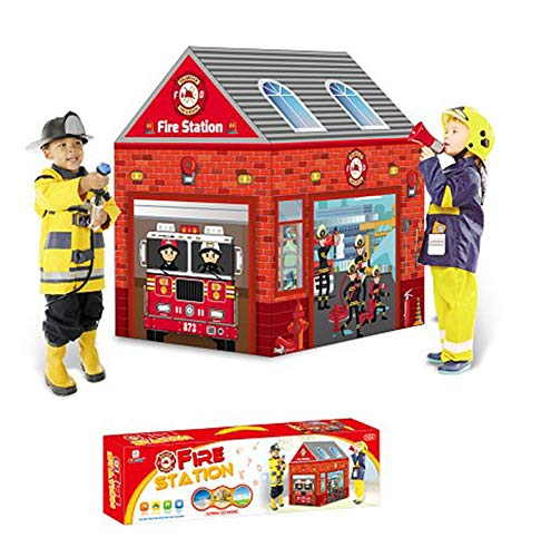 Ydq Kids Play Tent, Fire Station Houses Great Tractor Toy, Sun Shelter Playhouse | Den for Indoor Outdoor Garden Gazebo for Children Camping Picnic Travel,B
