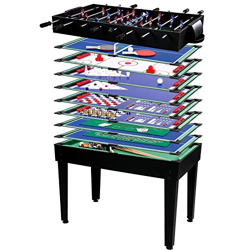 Maxstore Multigame Spieletisch Mega 15 in 1, inkl. komplettem Zubehör, Spieltisch mit Kickertisch, Billardtisch, Tischtennis, Speed Hockey UVM. in schwarzem Holzdekor