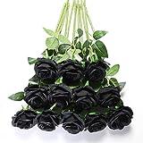 Tifuly 12 Pezzi Rose Artificiali, realistica Singola a Gambo Lungo Rosa Finta, Bouquet da Sposa da Sposa in Seta per Decorazioni da Ufficio in casa per Feste in Giardino (Nero)