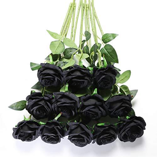 Tifuly 12 PCS Künstliche Rosen, 19,68 '' Single Long Stem Fake Rose Seide Braut Hochzeitsstrauß Realistische Blume für Hausgarten Party Hotel Büro Dekor (Blossom Roses, Schwarz)