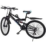 Bicicleta de montaña Kashyk de 26 pulgadas, luz de bicicleta, 21 marchas, doble freno de disco, suspensión completa, con jaula para botellas de bicicleta para niños y niñas, para hombre y mujer