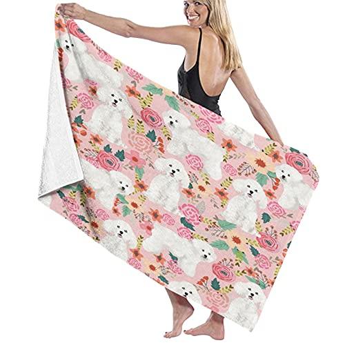 Toallas de baño,Perro Bichon Frise Vintage Floral Rosa,Manta Suave de Las Toallas...