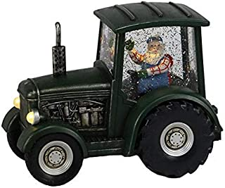 Craig Bachman Tractor Lighted Snow Water Globe with Santa Claus Driving Farm Tractor for Christmas Holiday Decor Table Decoration, Farmhouse, Green/Black, Battery Operated, 8.75 Inch, 1 Piece