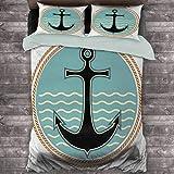 Toopeek Anchor - Juego de 3 fundas de edredón y 2 fundas de almohada, diseño náutico con fondo de océano ondulado y silueta de ancla de poliéster, diseño naval, multicolor