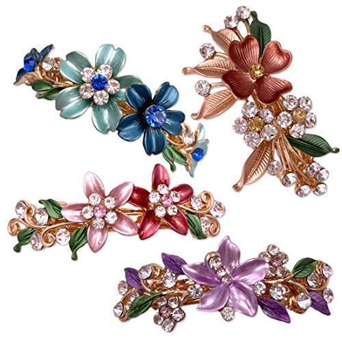 4PCS Colorful Vintage Flower Design Metal Small French Barrettes Hair Clasps Accessories Women