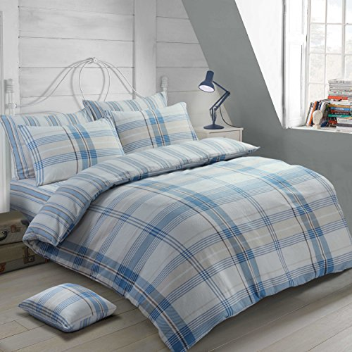 Velosso 100% Cotton Thermal Super Soft Flannelette Brushed Thermal Cotton Checkered Striped Reversible Quilt Cover Bedding Set (Blue, King Size)