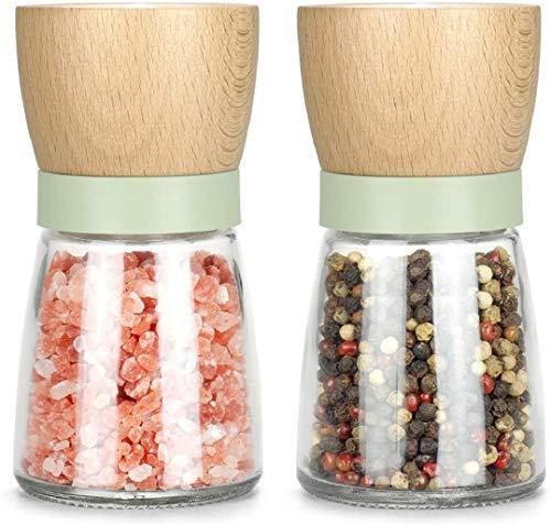 vevouk Salz- und Pfeffermühle aus Holz, Getreide- und Kräutermühle, nachfüllbare Gewürzmühle mit rosa Meersalz, 2 teilige grün Salz- und Meersalzmühlen zum Kochen, Geschenk