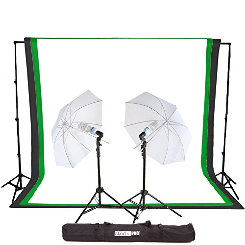 Fovitec StudioPRO 450 Watt Photography Light Photo & Video Studio Umbrella Continuous Lighting Kit, 6FT. x 9FT. Black, White & Green Chroma key Photo Backdrops Includes Background Support Kit