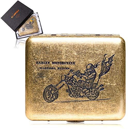 Coppen Cup シガレットケース 20本 たばこケース メンズ おしゃれ タバコケース 人気 防水 スリム 真鍮 ケース付き (真鍮) かわいい レディース (ハーレー)