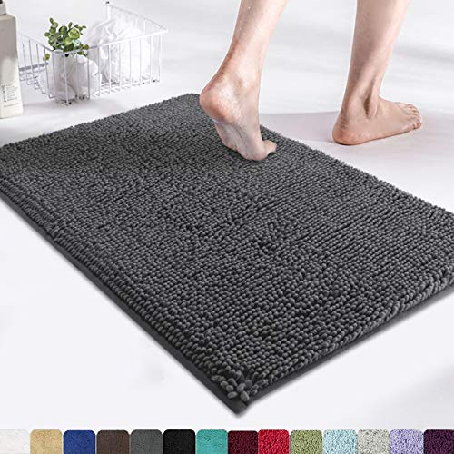 MAYSHINE Bath Mats for Bathroom Rugs Soft, Absorbent, Shaggy Microfiber,Machine-Washable, Perfect for Door Mat (17x24 inches, Charcoal Gray)