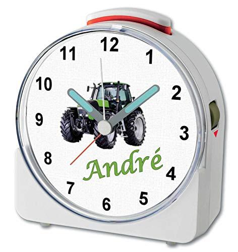 CreaDesign, WU-71-1104, Traktor, analog Kinderwecker weiß, Funkwecker mit Sweep-Uhrwerk und fluoreszierenden Zeiger und Licht, personlisiert mit Namen, 10,2 x 4,6 x 11 cm
