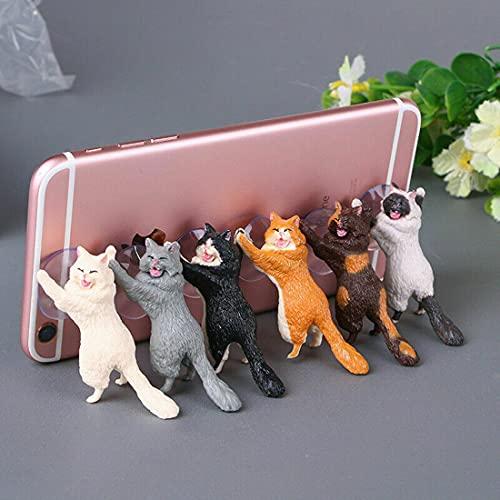 XIEJ Soporte para teléfono 6 piezas Soporte para teléfono para gato, soporte para teléfono lindo gato lechón Soporte para teléfono de escritorio universal Compatible con...
