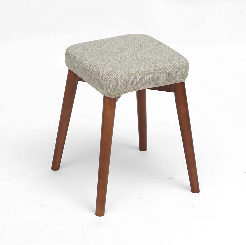 CXQ Fashion Creative Stools Beech Wood Dining Stool Fabric Dressing Stool Home Bench Plain color Square Stool