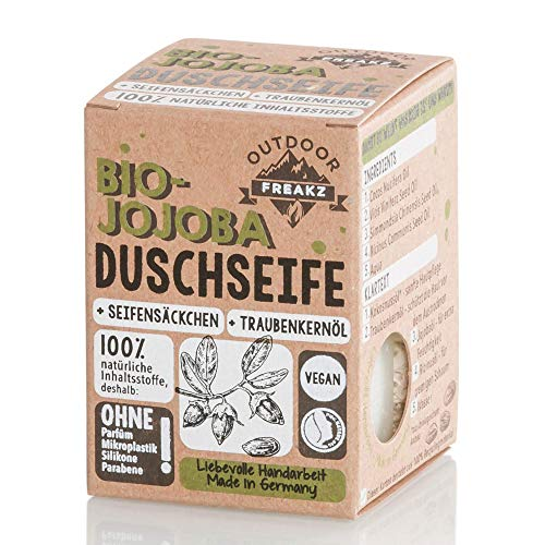 Bio Duschseife mit Seifensäckchen ohne Plastik und Palmöl (Jojoba)
