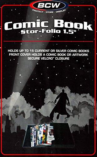 Ideal para transportar o guardar Comic Books Capacidad actual o plata edad Comic Books Capacidad para hasta 15Bag & tapiadas Comics cada Crystal Clear bolsillos en portada y lomo para obras de arte Exterior 111/4x 8x 2interior 11x 73/4x 11/2